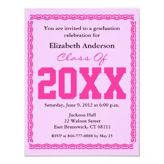 "Graduation Invitation Classic Pink 4.25"" X 5.5"" Invitation Card"