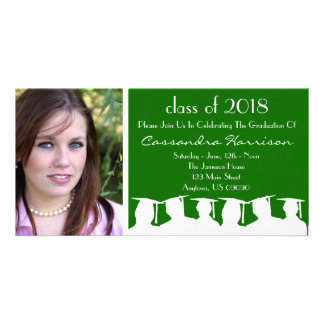 Graduation Invitation Photo Card Green Silhouette
