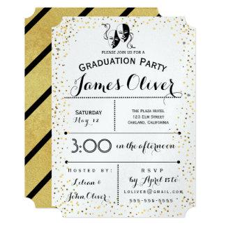 Graduation Invitation Theater Major Gold and Black