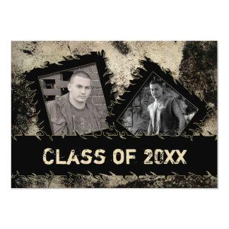 GRADUATION INVITATION - TWO PHOTOS - GRUNGE - 20XX