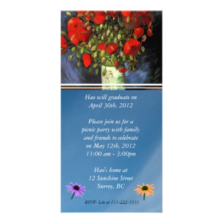 Graduation Invitation. Vase with Red Poppies Photo Card