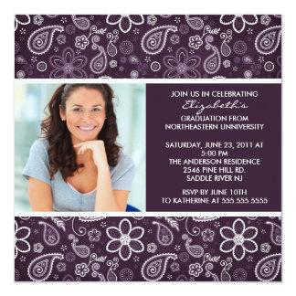 Graduation Invitation with Photo Purple Paisley