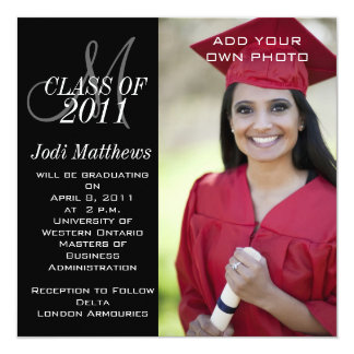 Graduation Invitations Monogram Photo