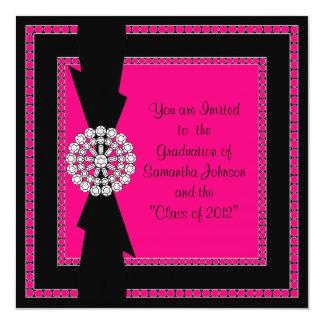 GRADUATION INVITE_Diamonds and Bows 13 Cm X 13 Cm Square Invitation Card