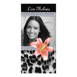 Graduation Leopard Photo Lily Flower Sweet 16 Photo Greeting Card