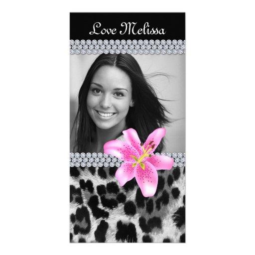 Graduation Leopard Photo Lily Flower Sweet 16 Photo Card Template