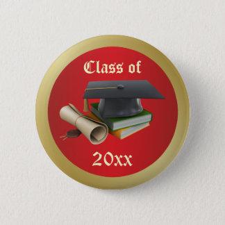 Graduation Mortar, diploma and books  Button