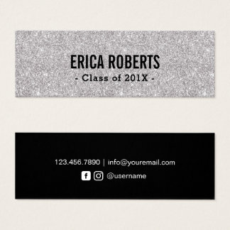 Graduation Name Card Modern Silver Glitter Insert