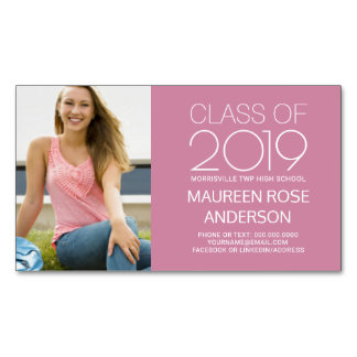 Graduation Name Card Photo Contact - Edit Colors Magnetic Business Cards