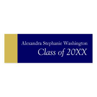 Graduation Name Card Set, Blue/Gold Keepsake Pack Of Skinny Business Cards