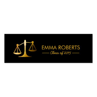 Graduation Name Tag-Modern Black & Gold Law School Double-Sided Mini Business Cards (Pack Of 20)