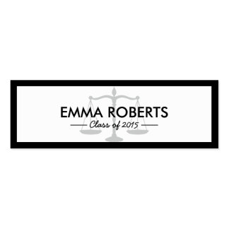Graduation Name Tag- Simple Border Law School Double-Sided Mini Business Cards (Pack Of 20)