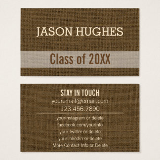 Graduation Networking | Rustic Burlap Personal Business Card