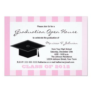 Graduation Open House Announcement -- Pink Stripes Personalized Announcement