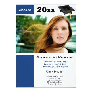 Graduation Open House (Dodger Blue) 13 Cm X 18 Cm Invitation Card