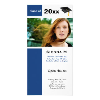 Graduation Open House (Dodger Blue) Personalised Photo Card