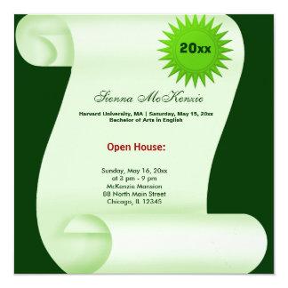 Graduation Open House (Green) 5.25x5.25 Square Paper Invitation Card