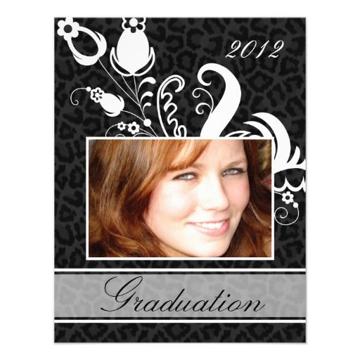 Graduation Open House Party Invitation Leopard Pho
