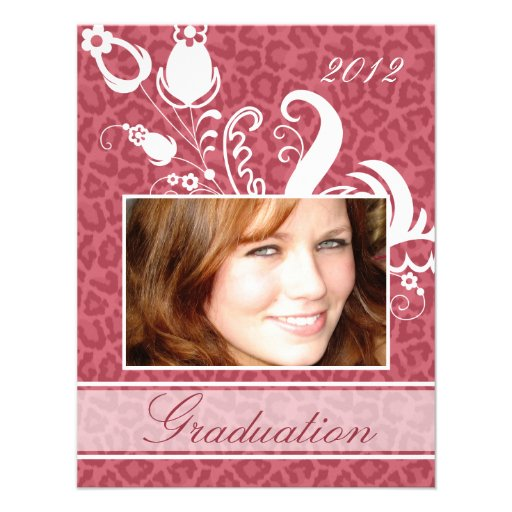 Graduation Open House Party Invitation Leopard Pic