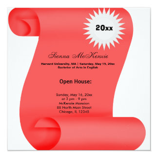 Graduation Open House (Red) 13 Cm X 13 Cm Square Invitation Card