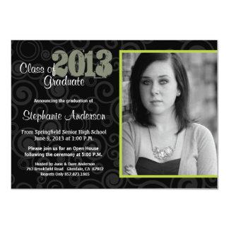 Graduation Open House Retro Swirls Green Invite