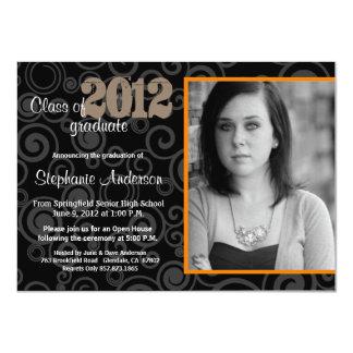 Graduation Open House Retro Swirls Orange Invite