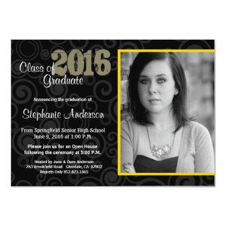 Graduation Open House Retro Swirls Yellow Invite