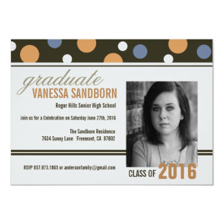 Graduation Open House Retro Whimsical Dots Invite
