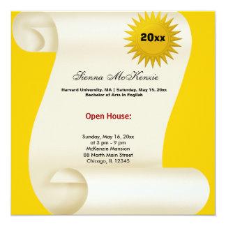 Graduation Open House (Yellow) 5.25x5.25 Square Paper Invitation Card