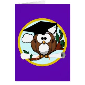 Graduation Owl w/ Cap & Diploma - Purple and Gold Card