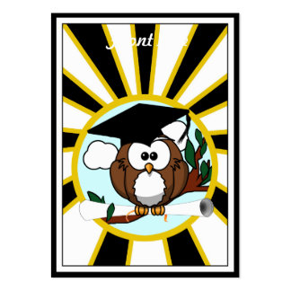 Graduation Owl w/ School Colors Black and Gold Business Cards