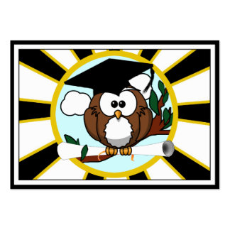 Graduation Owl w/ School Colors Black and Gold Large Business Cards (Pack Of 100)