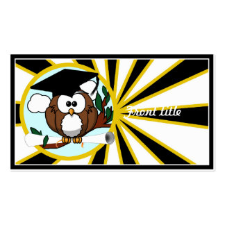Graduation Owl w/ School Colors Black and Gold Business Card Template