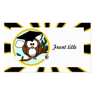 Graduation Owl w/ School Colors Black and Gold Pack Of Standard Business Cards