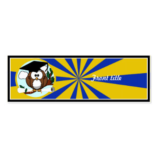 Graduation Owl With Blue And Gold School Colors Skinny Business Cards