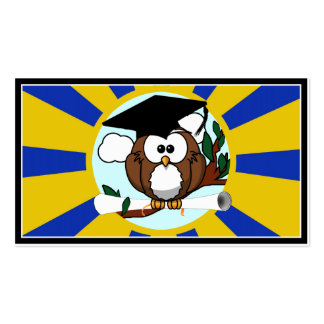 Graduation Owl With Blue And Gold School Colors Pack Of Standard Business Cards