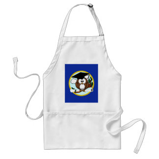 Graduation Owl With Cap & Diploma - Blue and Gold Standard Apron