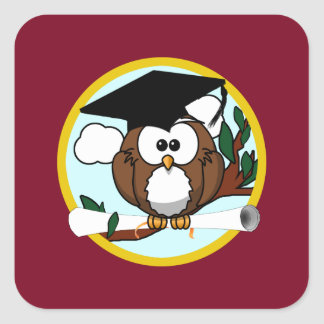 Graduation Owl With Cap & Diploma - Red and Gold Square Sticker