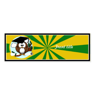 Graduation Owl With Green And Gold School Colors Skinny Business Cards