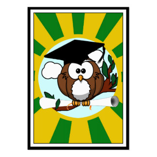 Graduation Owl With Green And Gold School Colors Large Business Cards (Pack Of 100)