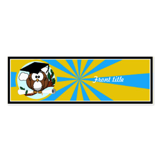 Graduation Owl With Lt.Blue And Gold School Colors Skinny Business Cards