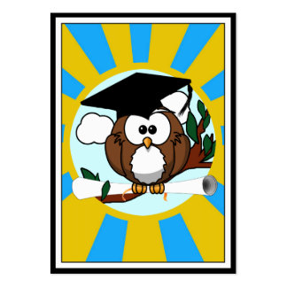 Graduation Owl With Lt.Blue And Gold School Colors Chubby Business Cards
