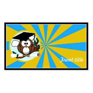 Graduation Owl With Lt.Blue And Gold School Colors Pack Of Standard Business Cards