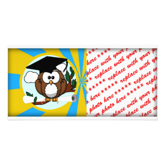 Graduation Owl With Lt.Blue And Gold School Colors Photo Greeting Card