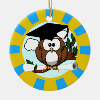 Graduation Owl With Lt.Blue And Gold School Colors Round Ceramic Decoration