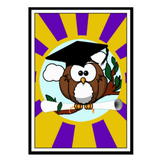 Graduation Owl With Purple And Gold School Colors Chubby Business Cards