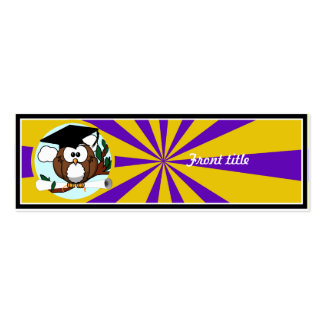 Graduation Owl With Purple And Gold School Colors Skinny Business Cards