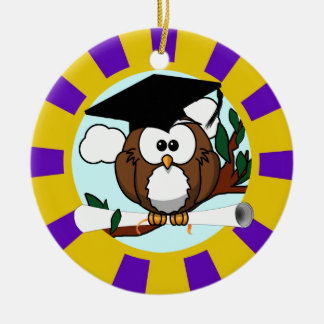 Graduation Owl With Purple And Gold School Colors Round Ceramic Decoration
