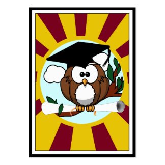 Graduation Owl With Red And Gold School Colors Chubby Business Cards