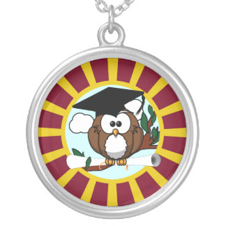 Graduation Owl With Red And Gold School Colors Jewelry